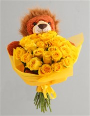 Sunny Day Roses And Teddy Gift For Baby