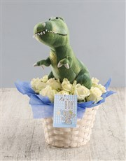 White Rose And Teddy Delight For Baby Basket