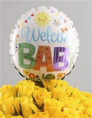 Welcome Baby Rose Vase And Balloon Gift