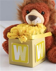 Welcome Home Baby Teddy And Yellow Rose Gift