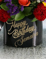 Personalised Happy Birthday Mixed Flowers Hat Box