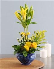 Topiary Tree Yellow Lilies
