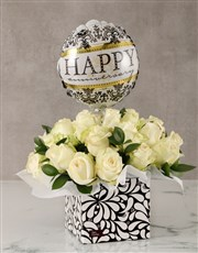 Anniversary White Roses in Box with Balloon