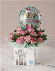 Pink Birthday Roses and Balloon Arrangement