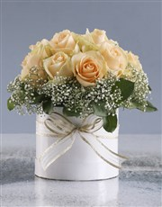 Peach Roses In White Round Box
