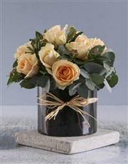 Peach Roses In Black Round Box
