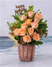 Happy Birthday Peach Rose Blossoms