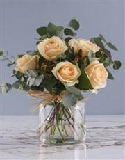 Peach Roses In Regent Glass Vase