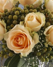 Peach Roses In Twirl Cylinder Vase
