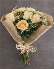 Peach Roses In Hessian Wrapping