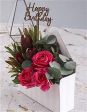 Happy Birthday Cerise Rose Blossoms