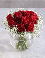 Red Roses In Fish Bowl