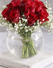 Amazing Red Roses In Fish Bowl