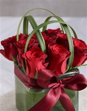 The Best Red Roses In Square Vase