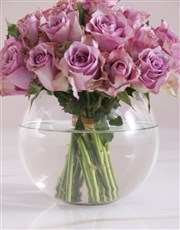 Get Well Soon Lilac Roses In Fish Bowl