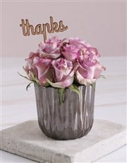 Thank You Lilac Roses In Bronze Vase
