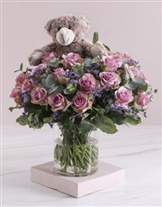 Lilac Rose Combo In Clear Vase