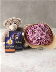 Lilac Roses With Teddy Bear
