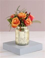 Cherry Brandy Roses in Glowing Vase