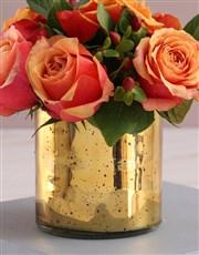 Cherry Brandy Roses in Golden Vase