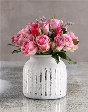 Passion Pink Roses in White Vase