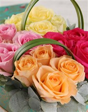 Colourful Roses in Floral Box
