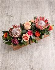 Coral King Protea and Rose Arrangement