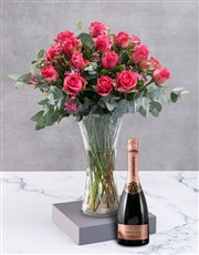 Cerise Roses In Clear Vase