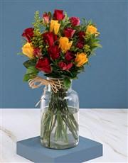 Fantastia Roses in Clear Vase