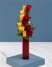 Red and Yellow Roses in Vase