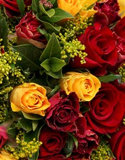 Dazzling Mixed Roses in Yellow Wrapping