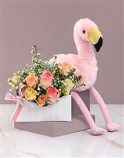 Mixed Roses with Flamingo Plush