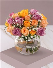 Sensational Mixed Roses in Clear Bowl