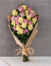 Vintage Mixed Roses in Brown Paper Wrapping