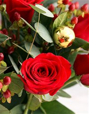 Red Roses in Happy Holiday Vase