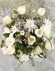 White Tulip In White Hat Box