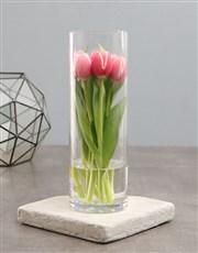 Standing Tulips In Cylinder Vase