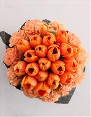 Orange Tulips In Hat Box