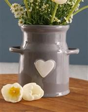 White Tulips In Milk Can Vase