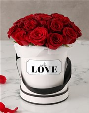 Red Roses in Love Hat Box