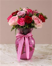 Mixed Pink Roses in Pink Vase
