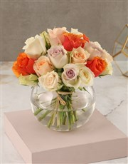 Mixed Pastel Rose Arrangement