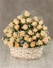 Cream Roses in Wicker Basket