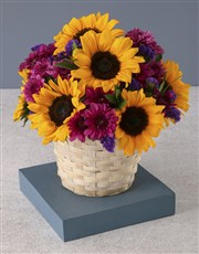 Sunflower Surprise In White Basket