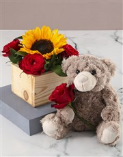 Sunflowers And Roses In Wooden Box
