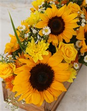 Sunny Florals In Wooden Crate