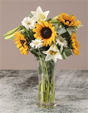 Sunflowers And Lilies In Vase