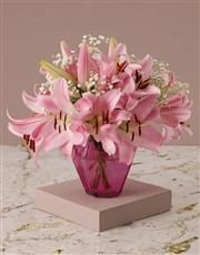 Stargazer Lilies in Pink Vase