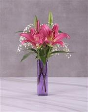 Stargazer Lilies in Square Vase