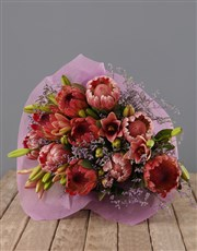 Mixed Proteas and Pink Lilies